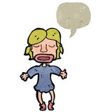 Retro cartoon blond woman with speech bubble Stock Photo