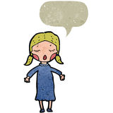 Retro cartoon blond woman with speech bubble Royalty Free Stock Image