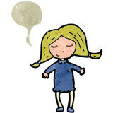 Retro cartoon blond woman with speech bubble Stock Image