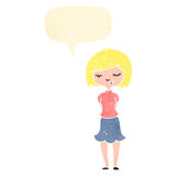 Retro cartoon blond woman with speech bubble Royalty Free Stock Images