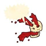Retro cartoon blood squirting gross skull Stock Image