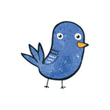 Retro cartoon blue bird. Retro cartoon illustration. On plain white background Royalty Free Stock Image