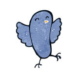 Retro cartoon blue bird. Retro cartoon illustration. On plain white background Stock Photo