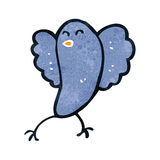 Retro cartoon blue bird. Retro cartoon illustration. On plain white background Stock Photos