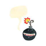 retro cartoon bomb with face, Stock Images