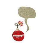 retro cartoon bomb with speech bubble Stock Photo