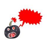 Retro cartoon bomb with speech bubble Royalty Free Stock Images