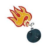 Retro cartoon bomb symbol with burning fuse Stock Photos