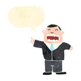 Retro cartoon boss shouting orders. Retro cartoon with texture. Isolated on White Stock Photo