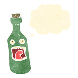retro cartoon bottle with thought bubble Royalty Free Stock Image