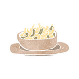 Retro cartoon bowl of noodles Royalty Free Stock Image