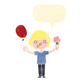 Retro cartoon boy with balloon and ice cream Stock Images