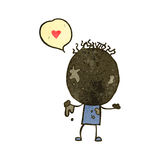 Retro cartoon boy covered  in mud with love heart Royalty Free Stock Images
