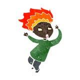 Retro cartoon boy with hair on fire Stock Photo