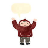 Retro cartoon boy in hooded sweatshirt Stock Photos