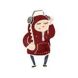 Retro cartoon boy in hooded sweatshirt Royalty Free Stock Photo