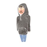 Retro cartoon boy in hooded sweatshirt Stock Images