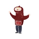 Retro cartoon boy in hooded sweatshirt Royalty Free Stock Images