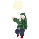 Retro cartoon boy in hooded top dancing Royalty Free Stock Images
