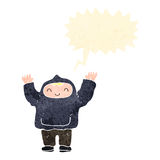 Retro cartoon boy in hooded top shouting. Retro cartoon with texture. Isolated on White Stock Photos