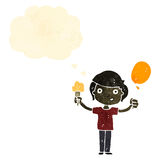 Retro cartoon boy with ice cream and balloon Royalty Free Stock Photo