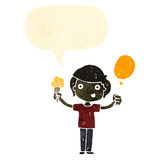 Retro cartoon boy with ice cream and balloon Stock Images