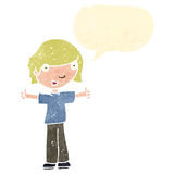Retro cartoon boy with positive attitude Royalty Free Stock Images