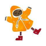 Retro cartoon boy in raincoat Royalty Free Stock Images