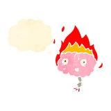 Retro cartoon brain on fire Royalty Free Stock Photography