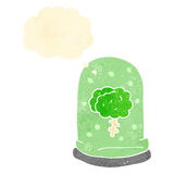 Retro cartoon brain in jar with thought bubble Stock Photo