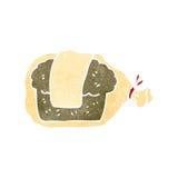 Retro cartoon bread in bag Royalty Free Stock Photo