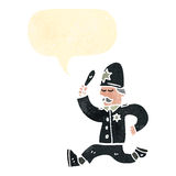 retro cartoon british policeman chasing Stock Photos