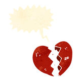 Retro cartoon broken heart Stock Image