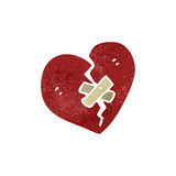 Retro cartoon broken heart symbol Stock Photography