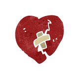 Retro cartoon broken heart symbol Stock Photos
