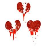 Retro cartoon broken heart symbols Royalty Free Stock Photo