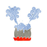 Retro cartoon bubbling cauldron Royalty Free Stock Images