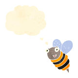 Retro cartoon bumble bee with thought bubble Royalty Free Stock Images