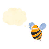 Retro cartoon bumble bee with thought bubble Royalty Free Stock Photos