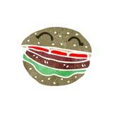 Retro cartoon burger Stock Photography