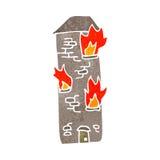 retro cartoon burning building Stock Images