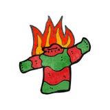 Retro cartoon burning christmas jumper Stock Photos