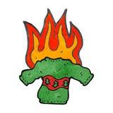 Retro cartoon burning christmas jumper Royalty Free Stock Images