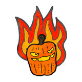 retro cartoon burning halloween pumpkin Royalty Free Stock Photos