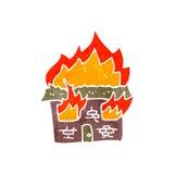 Retro cartoon burning house symbol Stock Photography