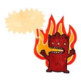 Retro cartoon burning little devil Royalty Free Stock Photography