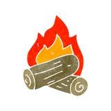 Retro cartoon burning logs Stock Image