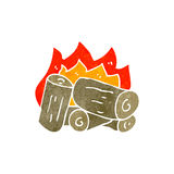 Retro cartoon burning logs Royalty Free Stock Photography