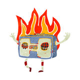 retro cartoon burning radio Stock Image