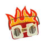 retro cartoon burning radio Stock Photo